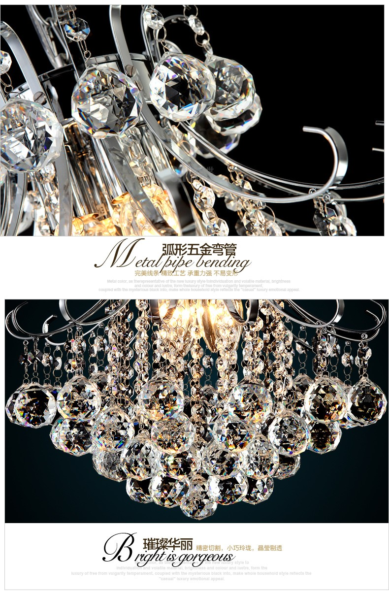 Dia.40cmxH41cm High Quality Ceilling hanging fashion Hanging LED Bedroom Pendant Crystal Light in Chrome home chandelier lamp