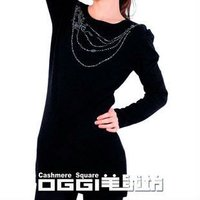 Modern knitted pure cashmere Harem Sleeve hot fix rhinestone pullover sweater dress