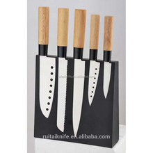 Top selling wooden handle santoku kitchen knife set with magnetic knife block