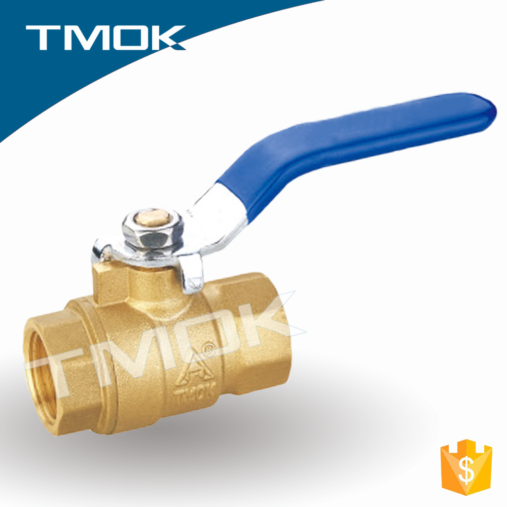 brass ball valve two ways blue long iron handle brass ball or iron ball F/M female thread