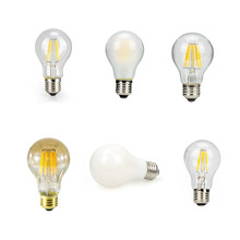 Clear/amber/frosted/silver/milk glass cover A60 LED filament bulbs 2W 4W 6W 8W