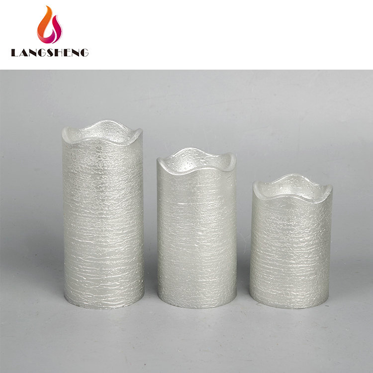 Factory direct sales fashionable wholesale silver pillar paraffin candles wax