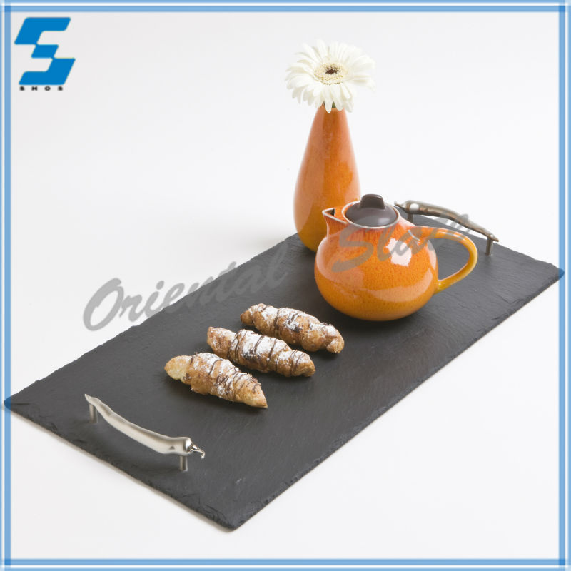 Unique style high quality fashion design slate anti-slip serving tray