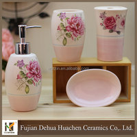 Elegant Pink Flower Design Ceramic Bathroom