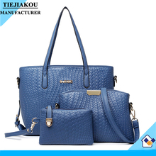 alibaba china shoulder bag for girls hot sale women 3pcs/set bag lady leather handbag