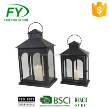 Made in China wholesale tabletop garden decoration candle metal lantern with glass tube inside