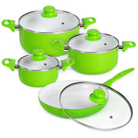 8pcs aluminum cookware sets white ceramic coating green