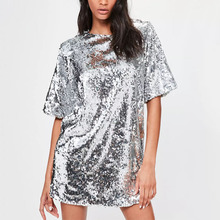 women adult hot sexy photos short silver sequin mini night dress