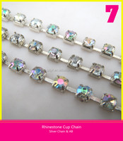Hot Sale Rhinestone Cup Chain Silver Chain Loose Crystal AB Sew on Wedding Dresses