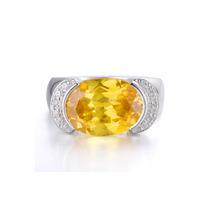 Direct Wholesale Custom Imitation Jewelry Silver Big Stone Yellow CZ Ring Designs for Women
