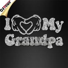 I love my grandpa custom glitter applique transfer for t shirts