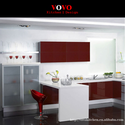 High gloss White and Red Color Combined modern lacquer Kitchen Cabinet