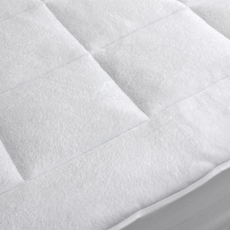 Coral Fleece Fabric with Deep Pocket White Quilted Mattress Topper - Jozy Mattress | Jozy.net