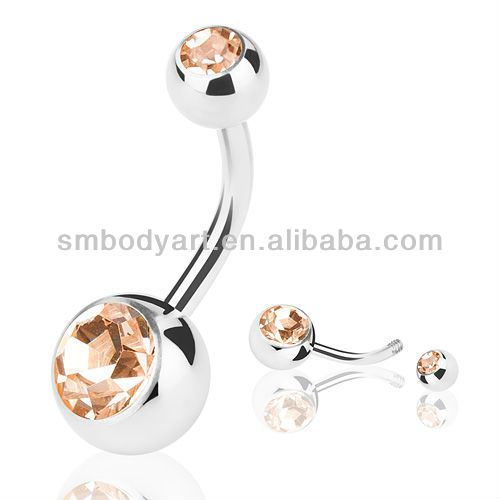 Stainless steel double gem curved barbell belly rings basic navel piercing AMDQ054