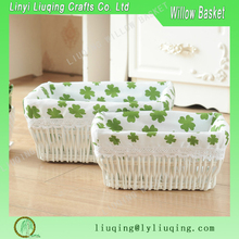 Wicker,Rattan Material and Willow Type square fabric lined wicker gift basket white wicker woven baskets wholesale