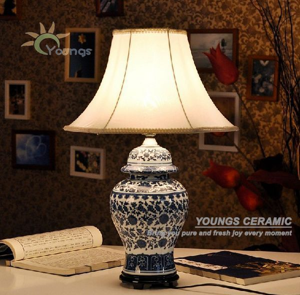 Chinese Traditional Blue White Ceramic Ginger Jar Table Lamps For Living Room Buy Ceramic