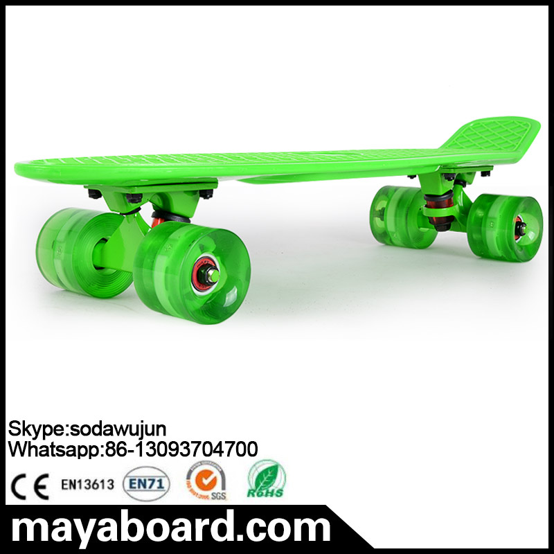 Colorful no grip tape fish shape led wheels skate board
