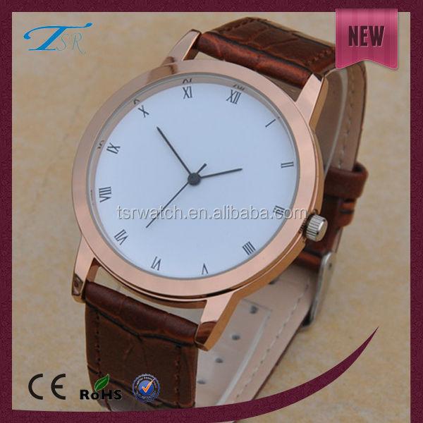 leather custom men popular quartz watch,rose gold/silver case watch