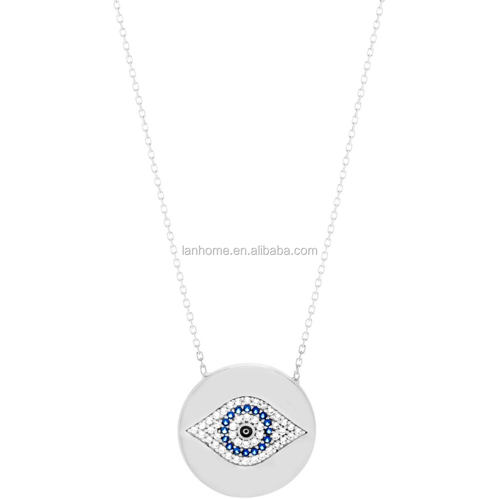 Pure Silver Round Evil Eye Station Pendant Necklace Fashion
