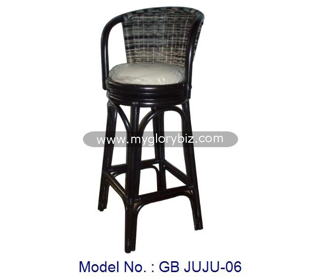 Antique Natural Rattan High Pub Bar Chair Swivel Stool In Black, rattan furniture, indoor high swivel chair, black bar stool