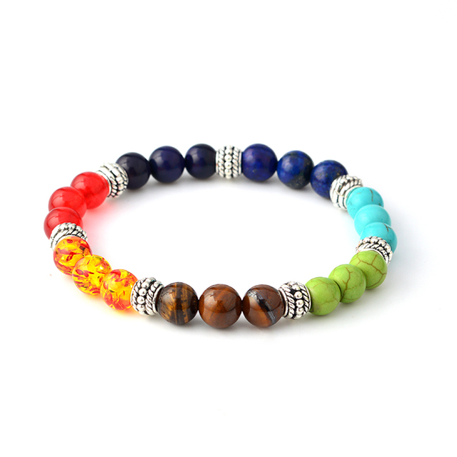 Multi-color 7 Chakra Healing Balance Beads Bracelet Yoga Life Energy Natural Stone Bracelet Women Men Casual Jewelry