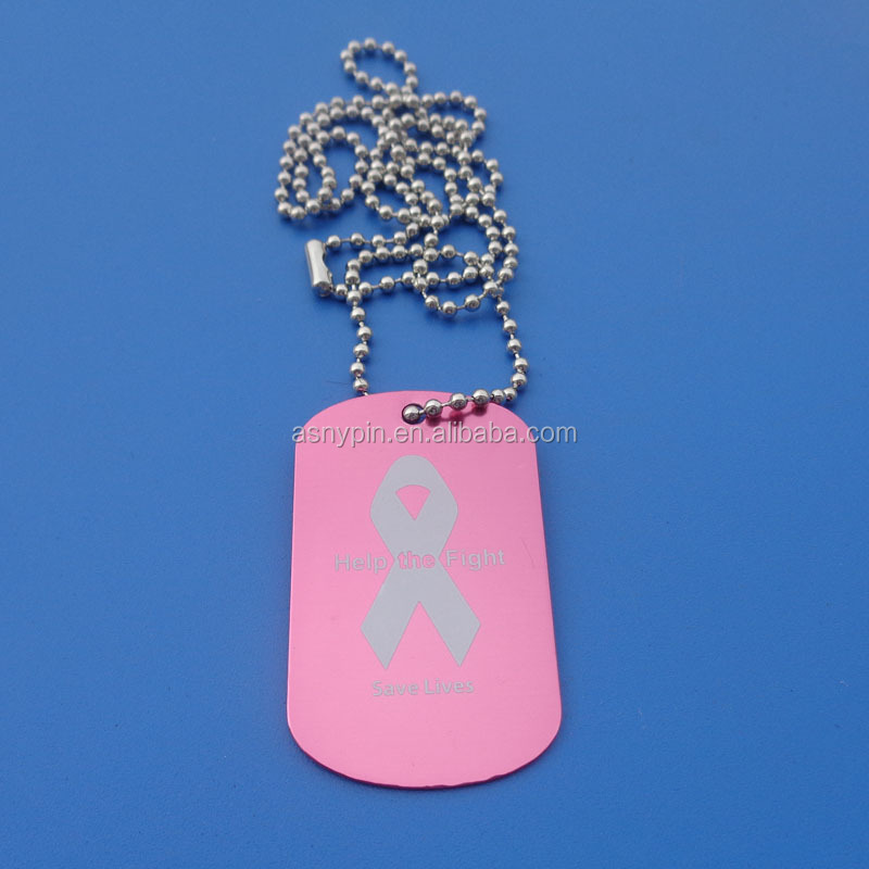 Pink Color Aluminum Anodized Breast Cancer Awareness Dog Tags - Help the Fight Save Lives