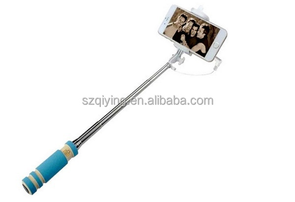 extendable mini selfie stick with cable , selfie monopod stick with cable