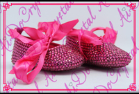 Aidocrystal Lovely Handmade Crystal Babay Shoes Fuchsia Dress Baby Girl Toddler Shoes