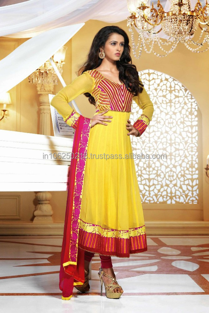 Yellow Beautiful Full Length Party Wear Long Anarkali Dress Designer Salwar Kameez Anarkali Bridal Dresses R1505