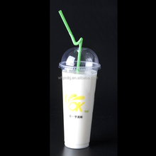 700-90 22oz 700ml Diameter 90mm Disposable PP Plastic Cup With Lid And Straw