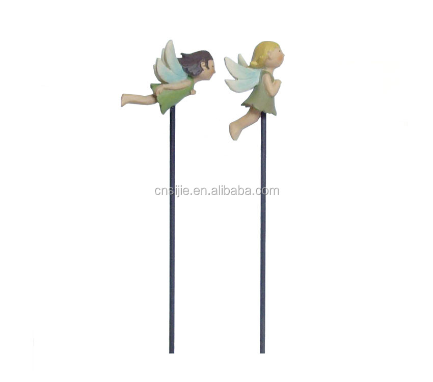 Amusing S/2 Flying Fairies on Stakes resin crafts for sale garden decorations