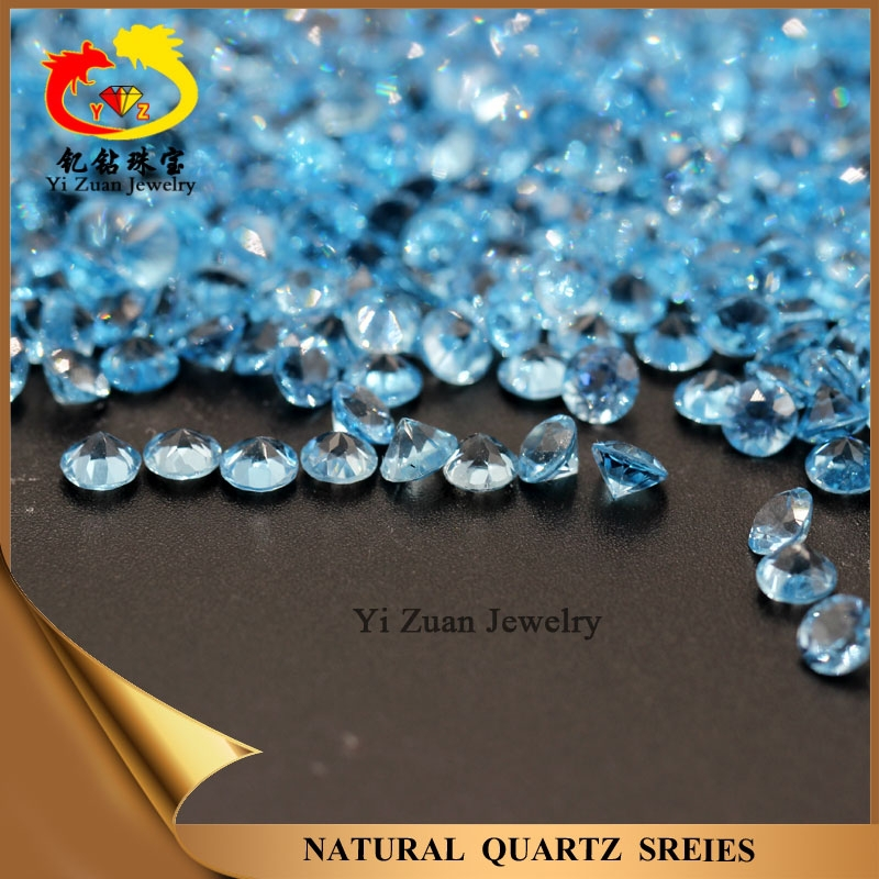 Chinese professional cutting Round shaped Natural Sky Blue Topaz Stone