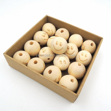 Round Ball SMILE FACE Bead Burnt Engrave Diy Accessory Wooden Craft