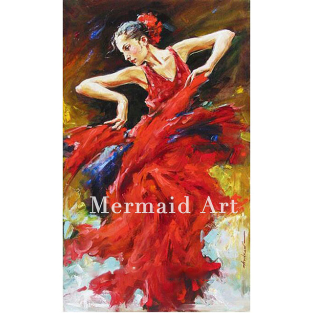 Modern Classic Spanish Dance Girl Pure Handmade Canvas Oil Painting Series For Dancing Room