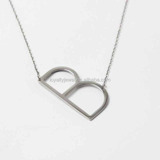 wholesale sideways alphabet s A B C letter necklaces