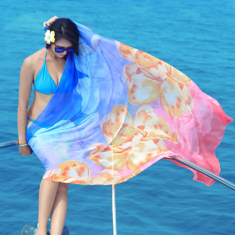 Big Size Sexy Chiffon Scarves Bikini Swimwear Sun Dress Beach Scarf Veil Wraps