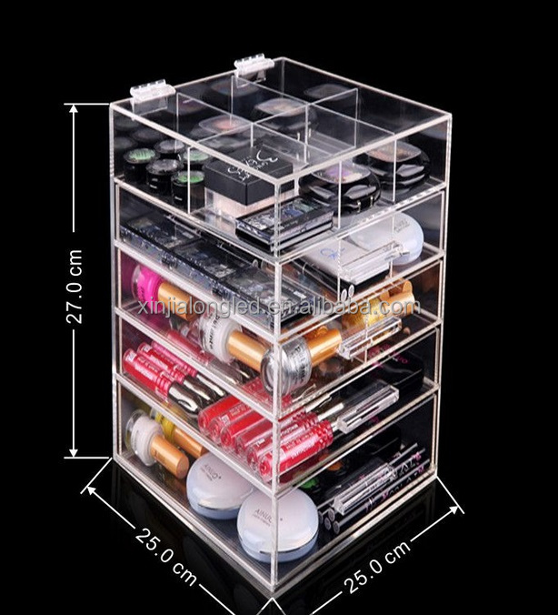 Deluxe Acrylic Powder and Nail Polish Organizer Crystal Clear Makeup Storage Box Acrylic Makeup Case Organizer