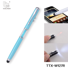 new 2017 statiomery business gift metal crystal led light touch pen promotional ballpoint pen