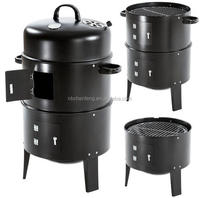 cylinder shape 3-in-1 BBQ smoker grill