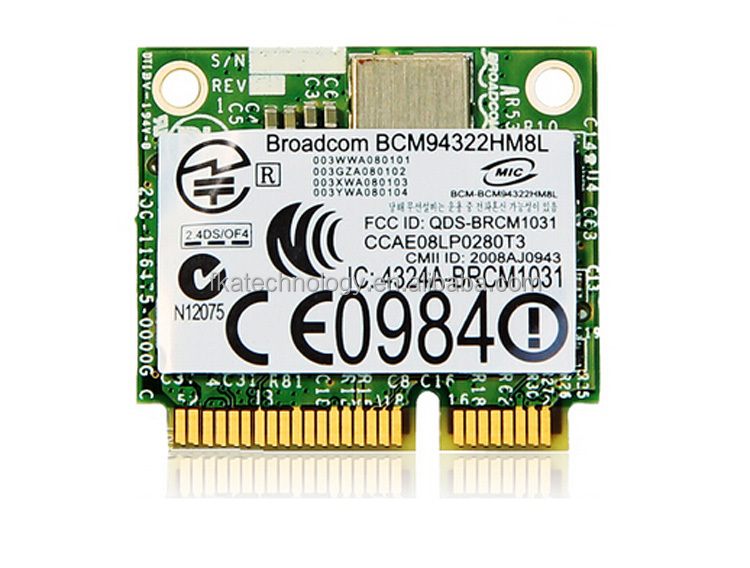 Broadcom BCM94322HM8L Dual band 300Mbps Wireless-N 802.11a/b/g/n Wifi Half size Mini PCI-E WLAN Card 300M Laptop Network Adapter