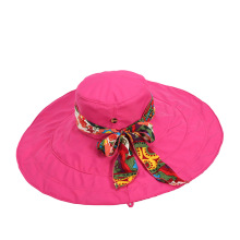Summer big Brim removable cloth visors wide brim beach sun hat for women