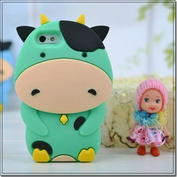 3D Cow Silicone Gel Skin green Wrap On Phone Cover Case for Apple iPhone 5 5G