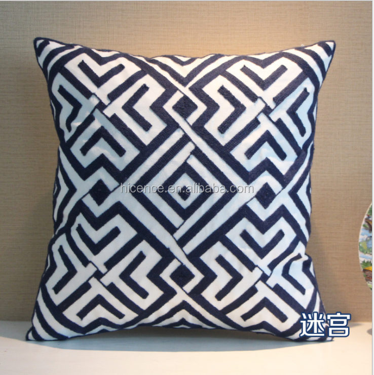 New Geometric Style Knitting Embroidery Pillow Cover