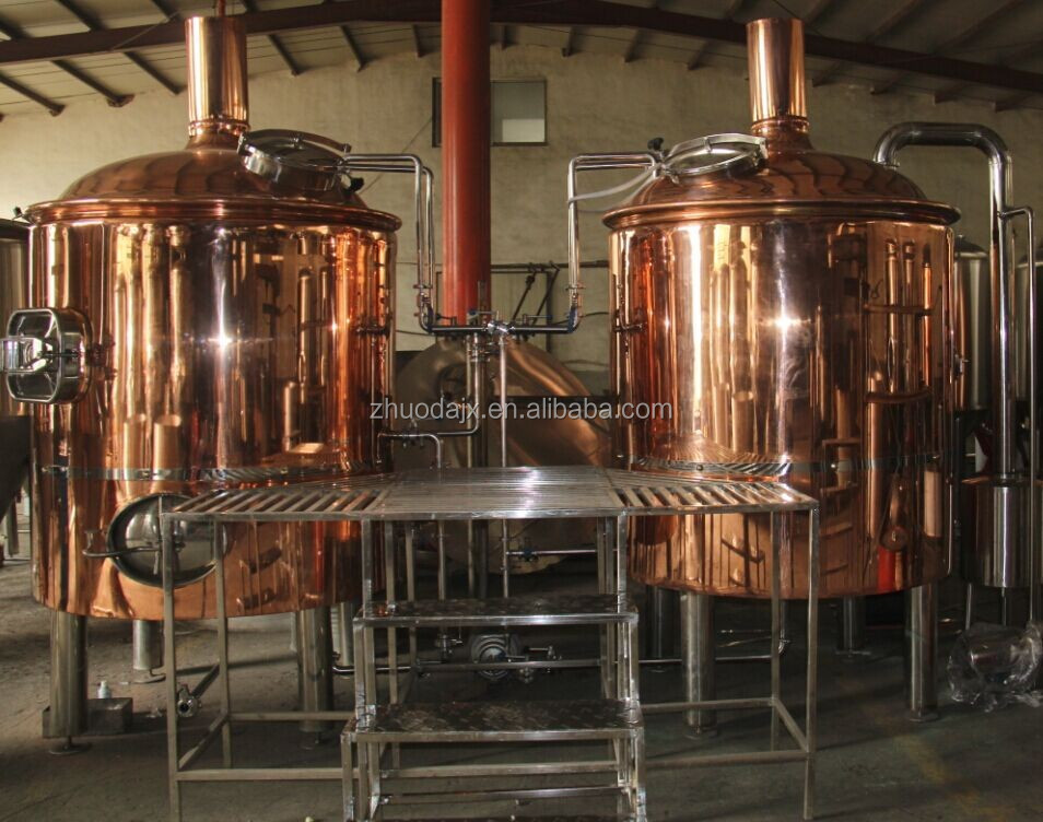 Red Copper Restaurant Beer Brewing Machine 1000l Brewhouse