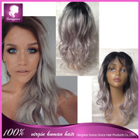 Silver gray ombre color human hair full lace wig with free part body wave Full lace human Brazilian hair wigs with baby hair