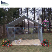 Outdoor large portable galvanized heavy-duty dog run kennel with chain link mesh