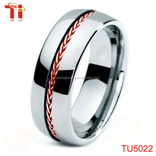 New products Tungsten braided rose gold stainless steel inlay polished domed 8mm wedding band ring