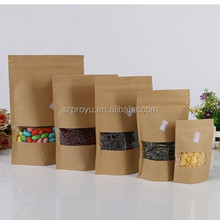 Food Recycled Plastic Packaging Kraft Paper Bag For Cookie With Window