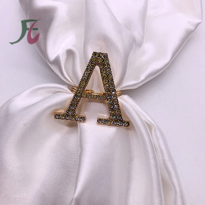 Letter A M K <strong>C</strong> S F Rhinestone Wedding Napkin Rings Gold
