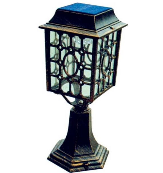 Vintage Solid Brass Pillar Light: Aluminum Super Bright Antique Brass Outdoor Solar Pillar